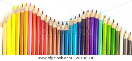 extreme closeup of crayons wave on white background
