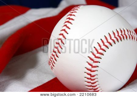 Baseball Close-Up On Flag