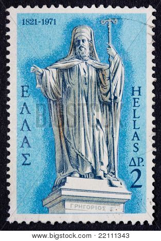 A Greek Stamp Showing An Ancient Cleric Wearing A Robe