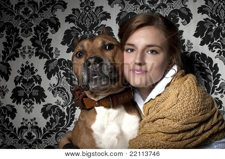Girl With American Staffordshire Terrier