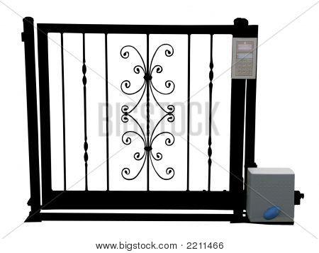 Puerta del hierro labrado