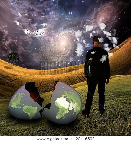 Man with head in clouds with earth egg