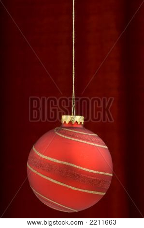 A Red Hanging Christmas Ornament