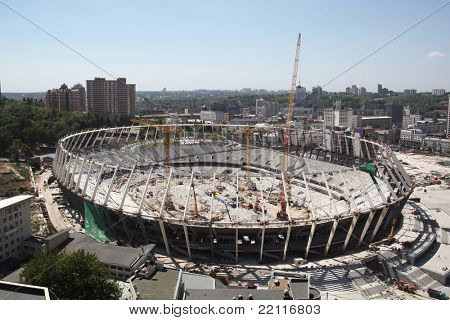KYIV, UKRAINE - MAY 31: The Olympic Stadium Under Construction For The UEFA EURO 2012. May 31, 2011, Kyiv, Ukraine