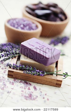 glycerine soap and bowl of lavender bath salt - beauty treatment /shallow DOF/