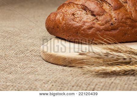Fresh Loaf Of Bread With Ears Of Rye On The Breadboard
