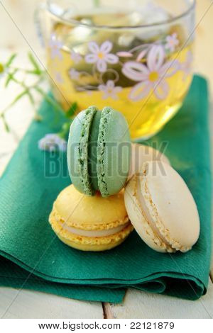 traditional french dessert  colorful macarons