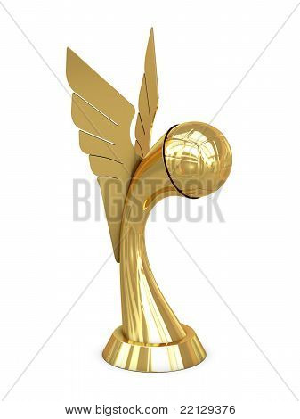 Golden award trophy with wings and volley ball