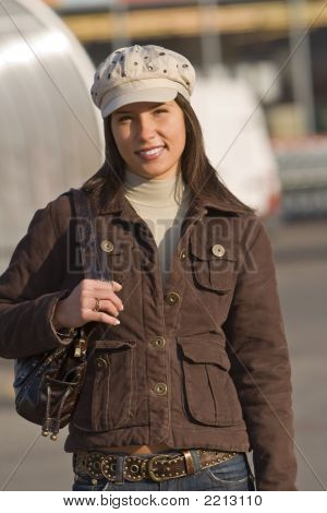 Smiling Woman Wearing Hat