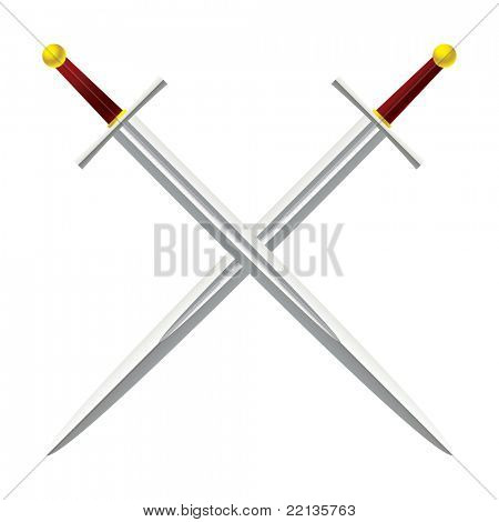 Silver metal sword crossed with red handles