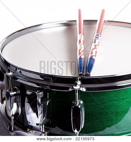 Green Snare Drum Isolated On White