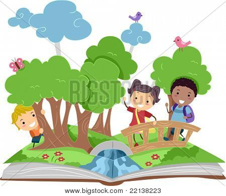 Illustration of a Pop Up Book with a Forest Theme