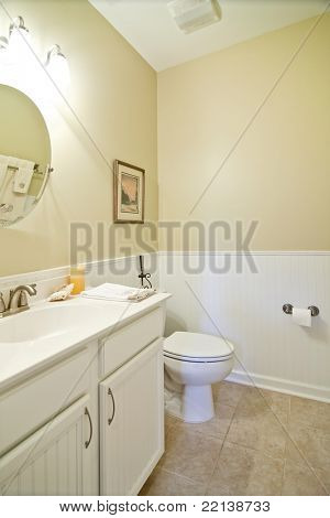 simple white bathroom with wainscot