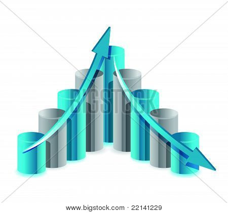 Up and down financial chart illustration design