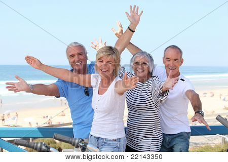 Senior citizens on holiday