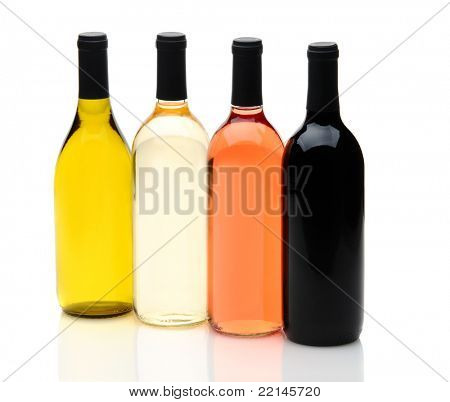 Four wine bottles on a white background with reflections, one each of chardonnay, white zinfandel, cabernet sauvignon, and pinot grigio, without labels.
