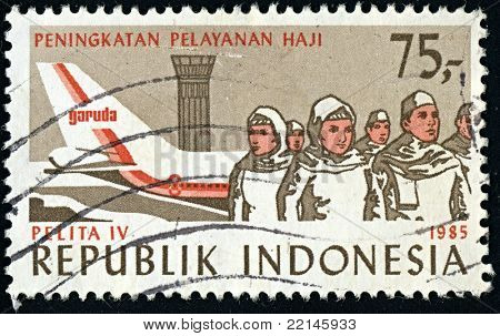REPUBLIC INDONESIA-CIRCA 1985:A stamp printed in REPUBLIC INDONESIA shows image of air transport of Indonesia, circa 1985.