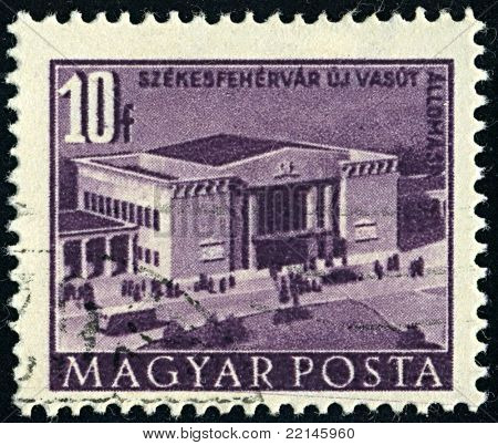 HUNGARY-CIRCA 1952:A stamp printed in HUNGARY shows image of station in Szekesfehervar, circa 1952.