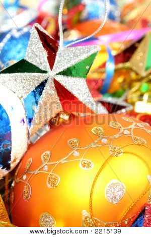 Christmas Ornaments Of Different Color  And Stars1