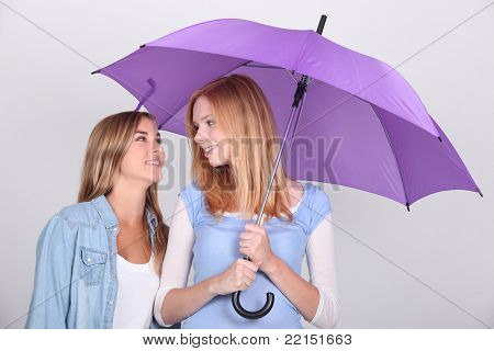Two girls under an umbrella