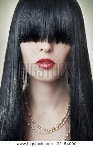 Fashion Female Face With Red Lips