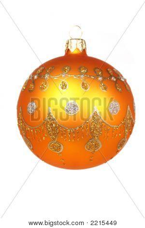 Celebratory Glass Sphere Of Orange Color On White 3