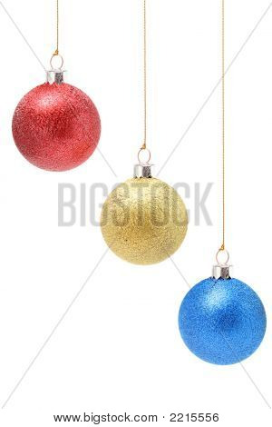 Christmas Decorations Of Red Yellow And Blue Color