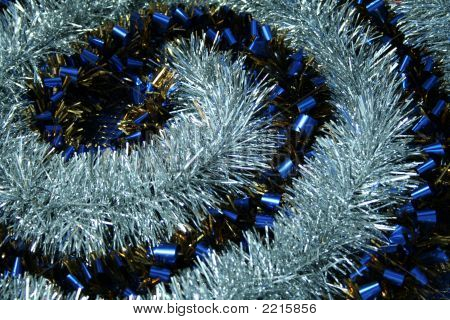 Brilliant Tinsel Of Dark Blue And Silvery Color