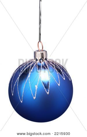 New Year's Sphere Of Blue Color With A Pattern 3