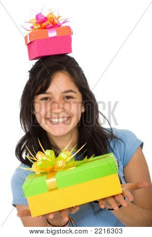 Casual Girl Full Of Gifts