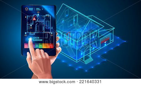 poster of IOT. Smart home system application interface. 3d house plan x-ray. Hand touching on tablet screen. Control locks doors and windows over internet of things with tablet application. Security Home System
