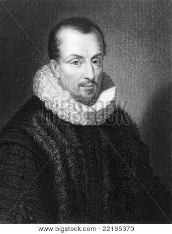 Jacques Auguste de Thou (1553-1617). Engraved by W.Holl and published in The Gallery Of Portraits With Memoirs encyclopedia, United Kingdom, 1833.