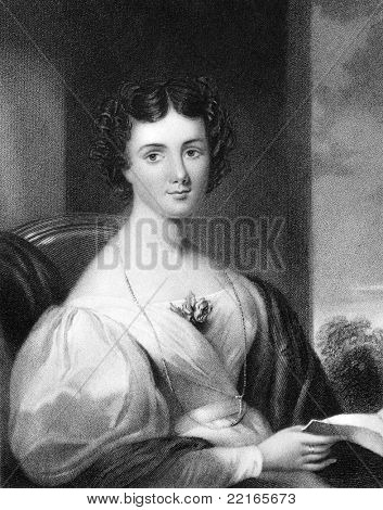 Mrs Fletcher late Maria Jane Jewsbury (1800-1833). Engraved by J.Cochran and published in The National Portrait Gallery Of Illustrious And Eminent Personages encyclopedia, United Kingdom, 1833.