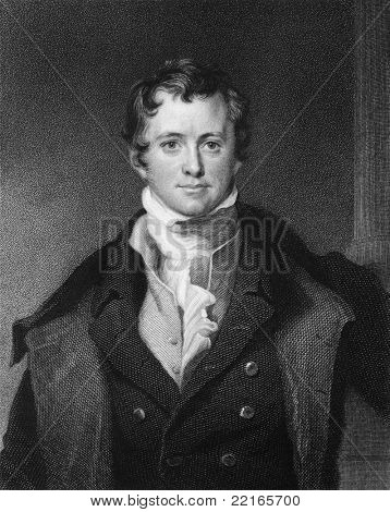 Humphrey Davy (1810-1876). Engraved by E.Scriven and published in The Gallery Of Portraits With Memoirs encyclopedia, United Kingdom, 1837.