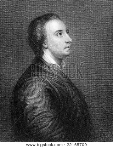 Mark Akenside (1721-1770). Engraved by R.Woodman and published in The National Portrait Gallery Of Illustrious And Eminent Personages encyclopedia, United Kingdom, 1820.