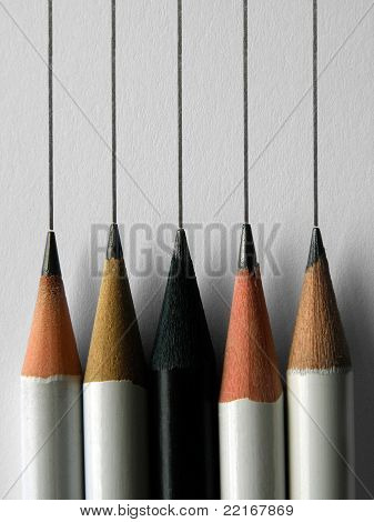 Five different pencils write the same
