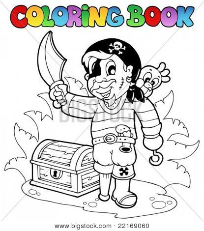 Coloring book with young pirate - vector  illustration.