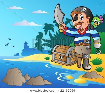 Coast with young cartoon pirate 2 - vector illustration.
