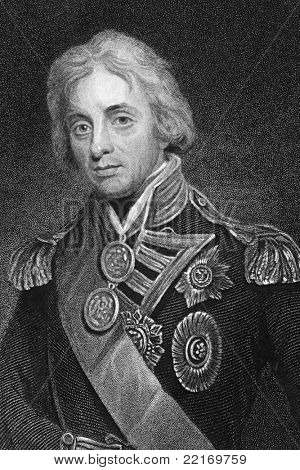 Horatio Nelson (1758-1805). Engraved by T.Woolnonth and published in The Gallery Of Portraits With Memoirs encyclopedia, United Kingdom, 1833.