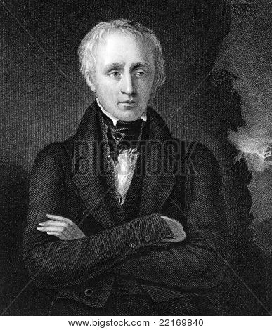 William Wordsworth (1770-1850). Engraved by J.Cochran and published in National Portrait Gallery Of Illustrious And Eminent Personages encyclopedia, United Kingdom, 1840.