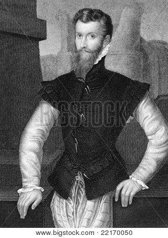 Edward Courtenay (1527-1556). Engraved by J.Cochran and published in Lodge's British Portraits encyclopedia, United Kingdom, 1823.