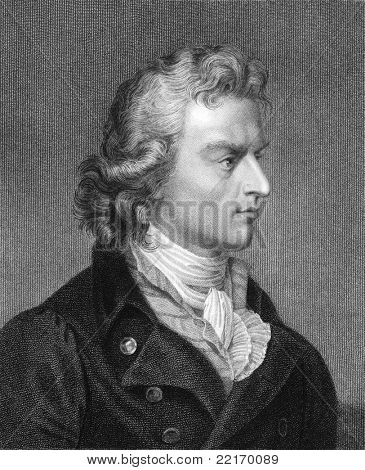 Friedrich Schiller (1759-1805). Engraved by J.Pofselwhite and published in The Gallery Of Portraits With Memoirs encyclopedia, United Kingdom, 1833.