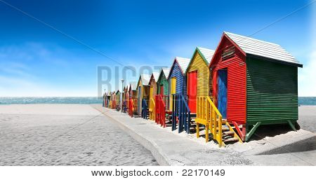 Colored bathing cabins on a beach