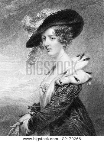 Georgiana Dowager, Lady Dover. Engraved by H.Robinson and published in National Portrait Gallery Of Illustrious And Eminent Personages encyclopedia, United Kingdom, 1840.