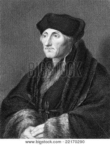 Erasmus (1466/1469-1536). Engraved by E.Scriven and published in The Gallery Of Portraits With Memoirs encyclopedia, United Kingdom, 1833.