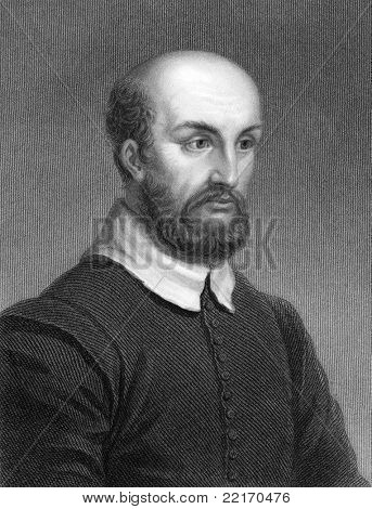 Andrea Palladio (1508-1580). Engraved by R.Woodman and published in The Gallery Of Portraits With Memoirs encyclopedia, United Kingdom, 1837.