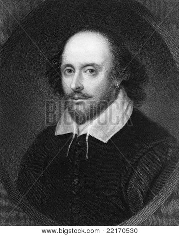 William Shakespeare (1564-1616). Engraved by E.Scriven and published in The Gallery of Portraits with Memoirs encyclopedia, United Kingdom, 1835.