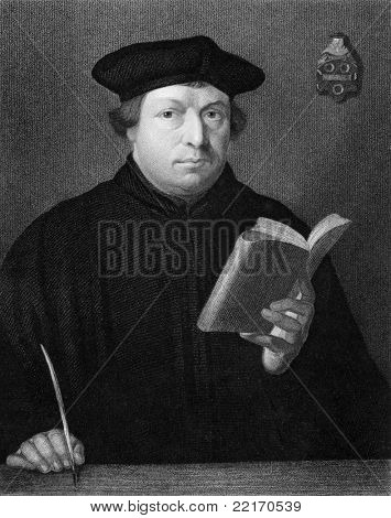 Martin Luther (1483-1546). Engraved by C.E.Wagstaff and published in The Gallery Of Portraits With Memoirs encyclopedia, United Kingdom, 1833.