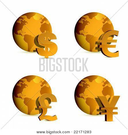 Globe and currency money symbols. illustration