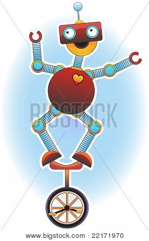 Colorful Bright Robot Balancing On Unicycle